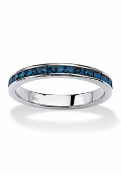 Sterling Silver Simulated Birthstone Stackable Eternity Ring,
