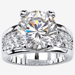 Platinum-Plated Round Engagement Ring Cubic Zirconia (7 cttw TDW),