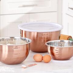 6-Pc. Set Of Copper Mixing Bowls & Lids,