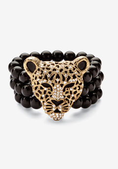 "Goldtone Onyx Leopard Stretch Bracelet (42mm), Round Crystal, 8.5"","