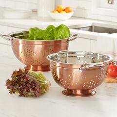 set of 2 copper colanders,