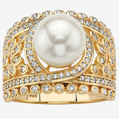 Gold over Sterling Silver Simulated Pearl and Cubic Zirconia Ring,