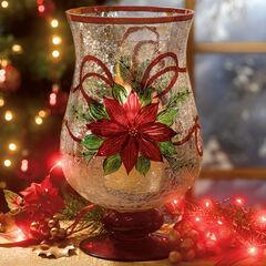 Holiday Hand-Painted Poinsettia Hurricane,