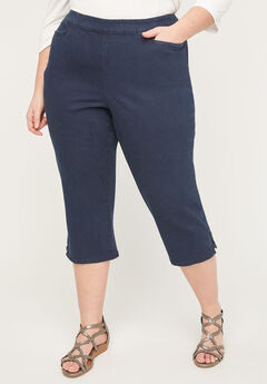 Essential Flat Front Denim Capri,
