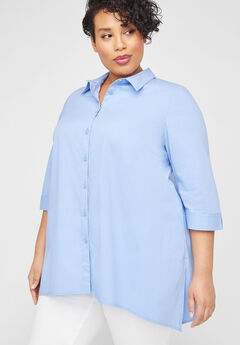 Asymmetrical Buttonfront Tunic,