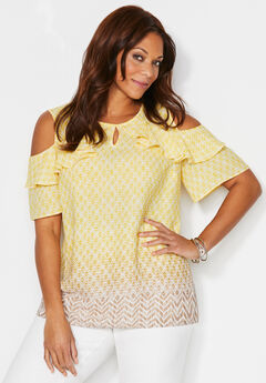 Valley Sun Open-Shoulder Georgette Top,