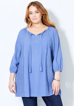 Crochet Trim Gauze Blouse,