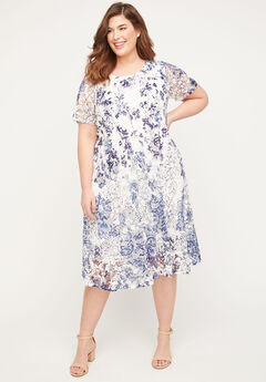 Indigo Lace A-Line Dress,