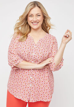 Georgette Blossom Buttonfront Top,