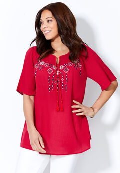 Seasonless Gauze Peasant Top,