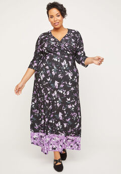 Lilac Garden Faux-Wrap Maxi Dress,