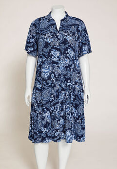 Paisley A-Line Shirtdress,