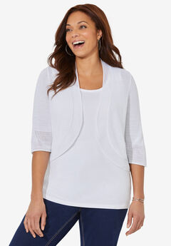 Pointelle Shrug Cardigan,