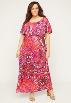 Meadow Crest Maxi Dress, FUCHSIA PATCHWORK PRINT