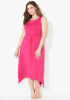 Cedar Park Fit & Flare Dress, DEEP TANGO PINK