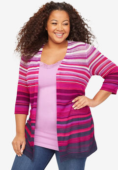 Ombre Stripe Tunic Cardigan,