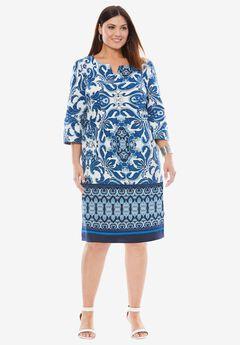 A-Line Denim Dress, BRIGHT COBALT BATIK BORDER, hi-res