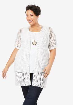 Crochet Long Cardigan, WHITE