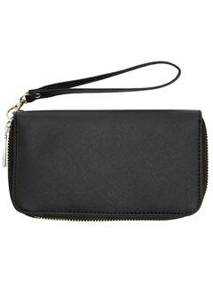 Saffiano Look Faux Leather Wallet, BLACK, hi-res