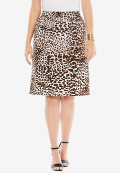 Bi-Stretch Short Skirt, ANIMAL PRINT