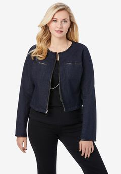 Denim Shrug with Faux Leather Trim,