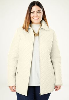 Quilted Zip-Front Leather Jacket,