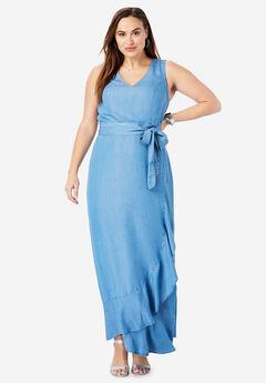 Sleeveless Faux Wrap Tencel® Maxi Dress,