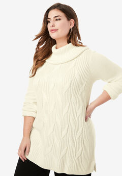 Cotton Cashmere Cowl Neck Sweater, IVORY