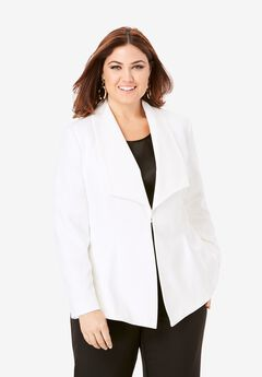 Drape Front Blazer, WHITE