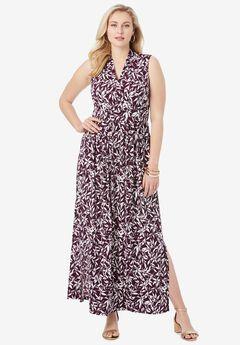 Travel Knit V-Neck Maxi Dress,