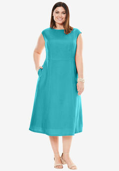 Fit & Flare Linen Dress, SOFT AQUA, hi-res