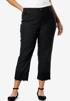 Lace Trim Crop Jean, BLACK