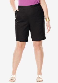 Linen Shorts, BLACK, hi-res