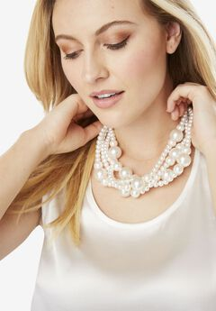 Faux Pearl Necklace and Earring Set,