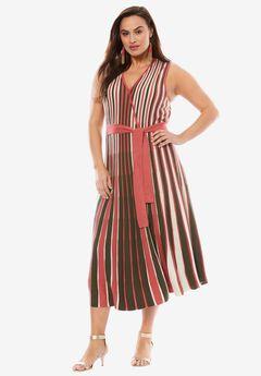 Faux Wrap Metallic Sweater Dress, BURGUNDY IVORY BROWN, hi-res