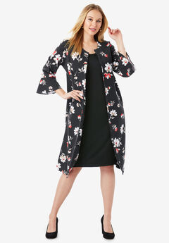 Bell Sleeve Ponte Jacket Dress, BLACK ABSTRACT FLORAL