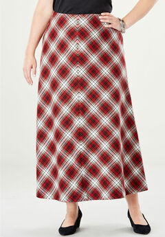 Wool-Blend Maxi Skirt, BRIGHT RUBY PLAID