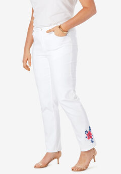Embroidered Straight Leg Jeans, WHITE