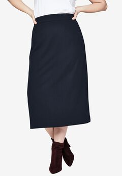 Wool Midi Skirt, NAVY, hi-res