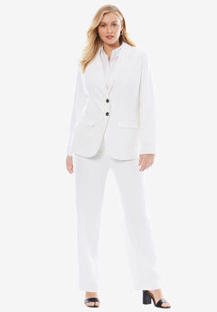 Single Breasted Pant Suit, WHITE, hi-res