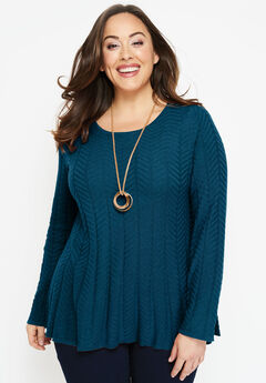Cable Fit & Flare Sweater,