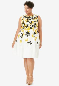 Fit & Flare Dress, FALLING GRAPHIC FLOWER