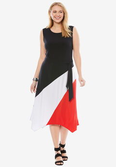 Asymmetric Side-Tie Midi Dress, BLACK MULTI, hi-res