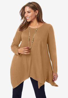 Asymmetrical Hem Swing Sweater,