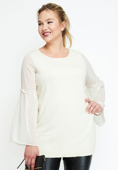 Sheer Bell Sleeve Sweater, IVORY