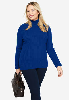 Turtleneck Sweater with Ribbing,