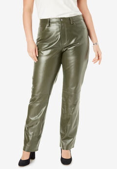 Straight Leg Leather Pants,