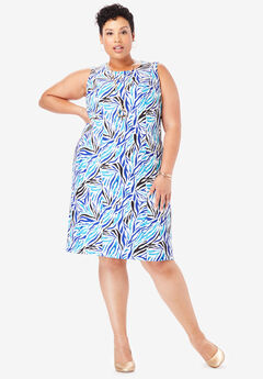 Bi-Stretch Sheath Dress, ULTRA BLUE ZEBRA