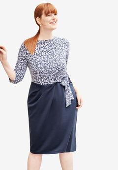 Printed Ponte Fit & Flare Dress, NAVY FLORAL, hi-res