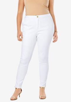 Refined Denim Ankle Zip, WHITE